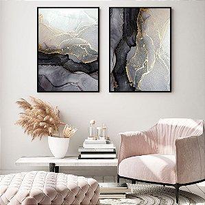 Conjunto com 02 quadros decorativos Abstrato Dourado 50x70cm (LxA) Moldura Preta