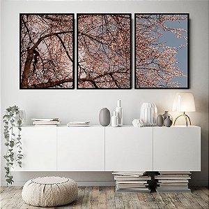 Conjunto com 03 quadros decorativos Primavera 50x70cm (LxA) Moldura Preta