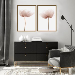 Conjunto com 02 quadros decorativos Flores 50x70cm (LxA) Moldura Preta