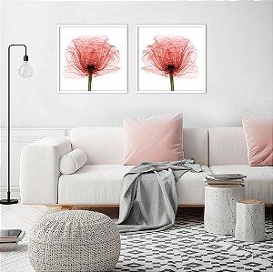 Conjunto com 02 quadros decorativos Flor Vermelha 40x40cm (LxA) Moldura Branca