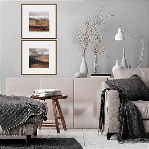 Conjunto com 02 quadros decorativos Pintura Aquarela 40x40cm (LxA) Moldura Preta
