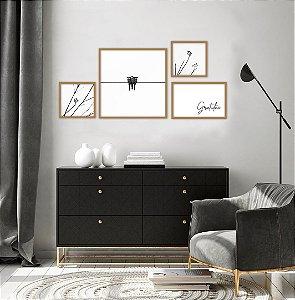 Conjunto com 04 quadros decorativos Gratidão Moldura Dourado Envelhecido