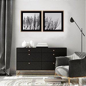 Conjunto com 02 quadros decorativos Orvalho 40x40cm (LxA) Moldura Dourado Envelhecido