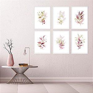 Conjunto com 06 quadros decorativos Aquarela Botanic 20x30cm (LxA) Moldura Branca