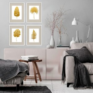 Conjunto com 04 quadros decorativos Botânica Gold 20x30cm (LxA) Moldura Preta