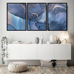 Conjunto com 03 quadros decorativos Azul Profundo 50x70cm (LxA) Moldura Preta