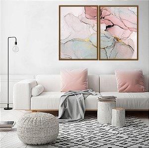Conjunto com 02 quadros decorativos Abstrato Rosê 50x70cm (LxA) Moldura Preta