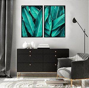 Conjunto com 02 quadros decorativos Botanic 50x70cm (LxA) Moldura Preta