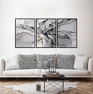 Conjunto com 03 quadros decorativos Abstrato Black 40x60cm (LxA) Moldura Preta