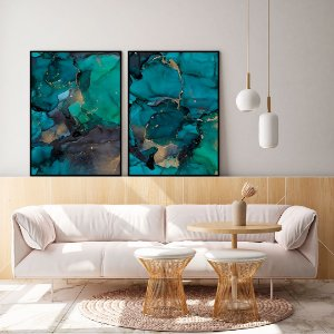 Conjunto com 02 quadros decorativos Esmeralda