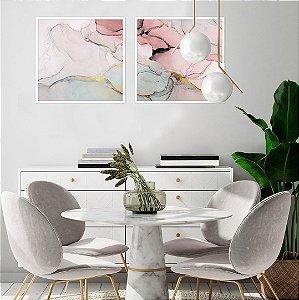 Conjunto com 02 quadros decorativos Abstrato Rosê 40x40cm (LxA) Moldura Branca