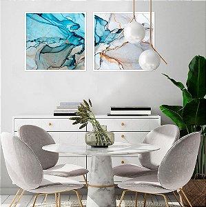 Conjunto com 02 quadros decorativos Abstract Blue 40x40cm (LxA) Moldura Branca