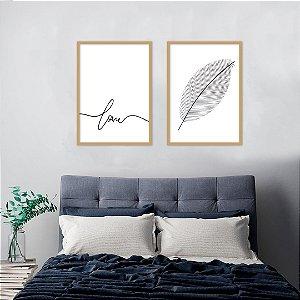 Conjunto com 02 quadros decorativos Love 30x40cm (LxA) Moldura Natural