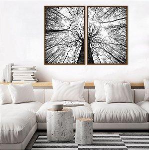 DUPLICADO - Conjunto com 02 quadros decorativos Abstrato Preto e Branco 50x70cm (LxA) Moldura Preta