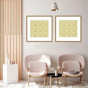 Conjunto com 02 quadros decorativos Geométrico Dourado