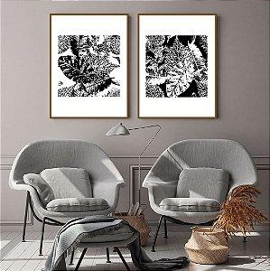 Conjunto com 02 quadros decorativos Folhas