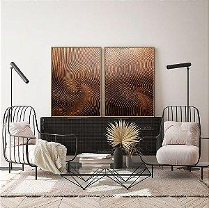 Conjunto com 02 quadros decorativos Madeira