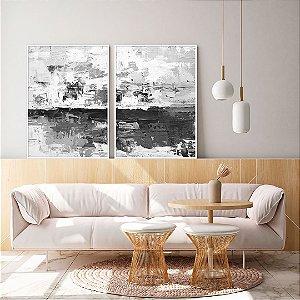 Conjunto com 02 quadros decorativos Cinza