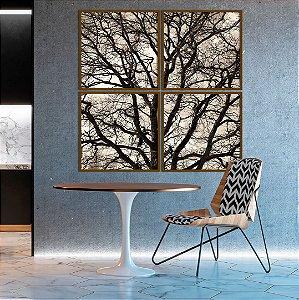 Conjunto com 04 quadros decorativos Galhos Árvore