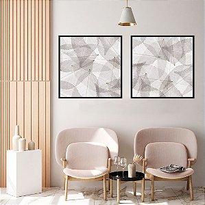 Conjunto com 02 quadros decorativos Folhas Secas