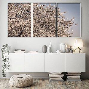 Conjunto com 03 quadros decorativos Árvore Cerejeira
