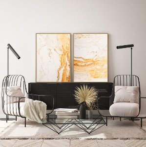 Conjunto com 02 quadros decorativos Abstrato Madeira