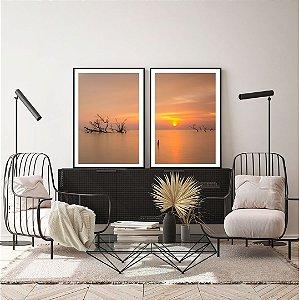Conjunto com 02 quadros decorativos Paisagem Pôr do Sol