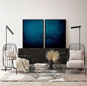Conjunto com 02 quadros decorativos Abstrato Azul Clássico