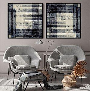 Conjunto com 02 quadros decorativos Geométrico Azul Escuro