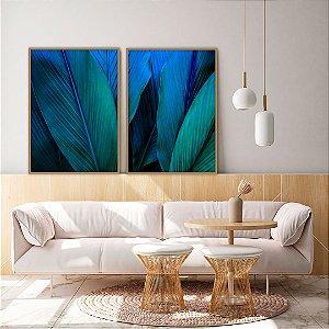 Conjunto com 02 quadros decorativos Botânica Verde e Azul