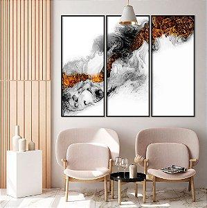 Conjunto com 03 quadros decorativos Abstrato Preto e Metalizado