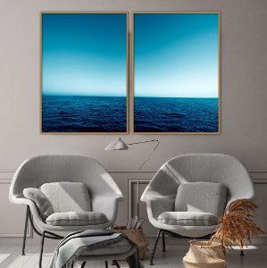 Conjunto com 02 quadros decorativos Mar