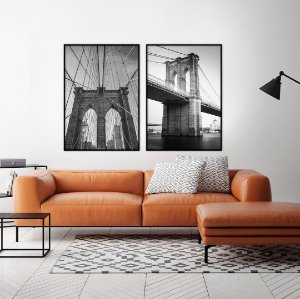 Conjunto com 02 quadros decorativos Ponte do Brooklyn