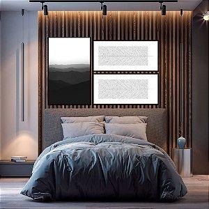 Conjunto com 03 quadros decorativos Natureza em Preto e Branco