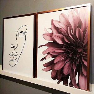 ENVIO IMEDIATO - Conjunto com 02 quadros decorativos Femme 50x70cm (LxA) Moldura Rose Gold