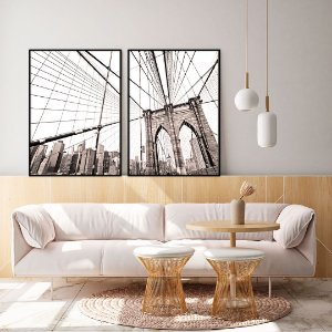Conjunto com 02 quadros decorativos New York
