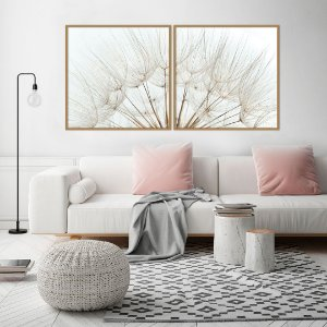 Conjunto com 02 quadros decorativos Dente-de-leão