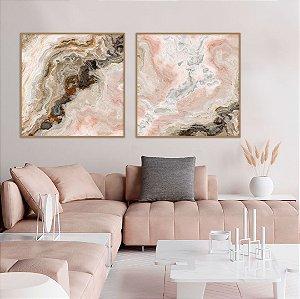 Conjunto com 02 quadros decorativos Abstrato Rosé
