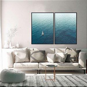 Conjunto com 02 quadros decorativos Veleiro