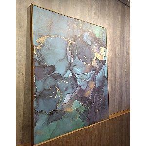 ENVIO IMEDIATO - Quadro decorativo Canvas Abstrato Verde Esmeralda 80x100cm (LxA) Moldura Amadeirada estilo Filete