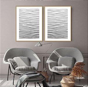 Conjunto com 02 quadros decorativos Abstrato Branco