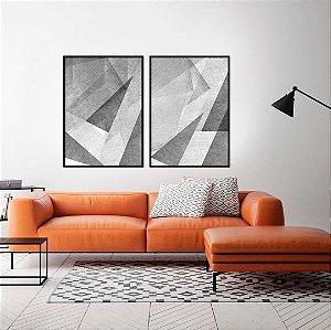 Conjunto com 02 quadros decorativos Geométrico Cinza