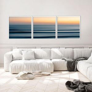 Conjunto com 03 quadros decorativos Oceano