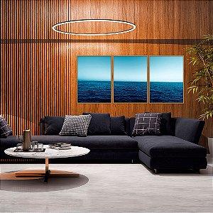 Conjunto com 03 quadros decorativos Mar Azul