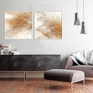 Conjunto com 02 quadros decorativos Abstrato Cores Suaves