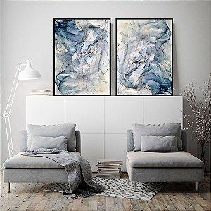 Conjunto com 02 quadros decorativos Abstrato Suave Azul