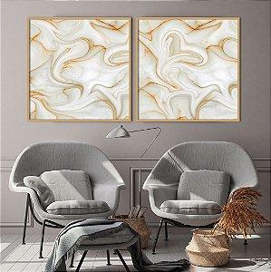 Conjunto com 02 quadros decorativos Pedra Abstrata