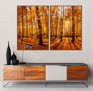 Conjunto com 02 quadros decorativos Floresta no Outono