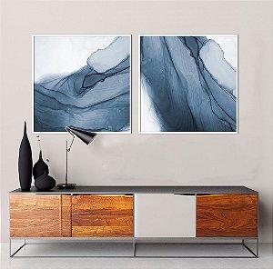 Conjunto com 02 quadros decorativos Azul Abstrato