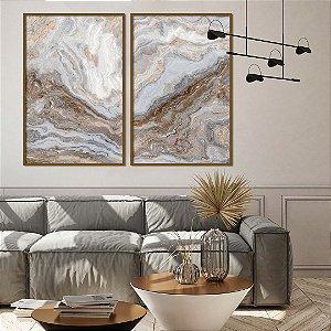 Conjunto com 02 quadros decorativos Abstrato Marmorizado Cinza